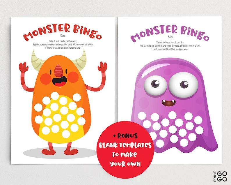 monster bingo dice game for children family friendly games