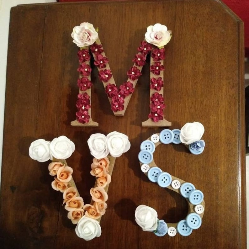 Decorated Wooden Letters 13 Cm Measurements Can Vary Custom As You Want For A Birth Or For A Special Gift