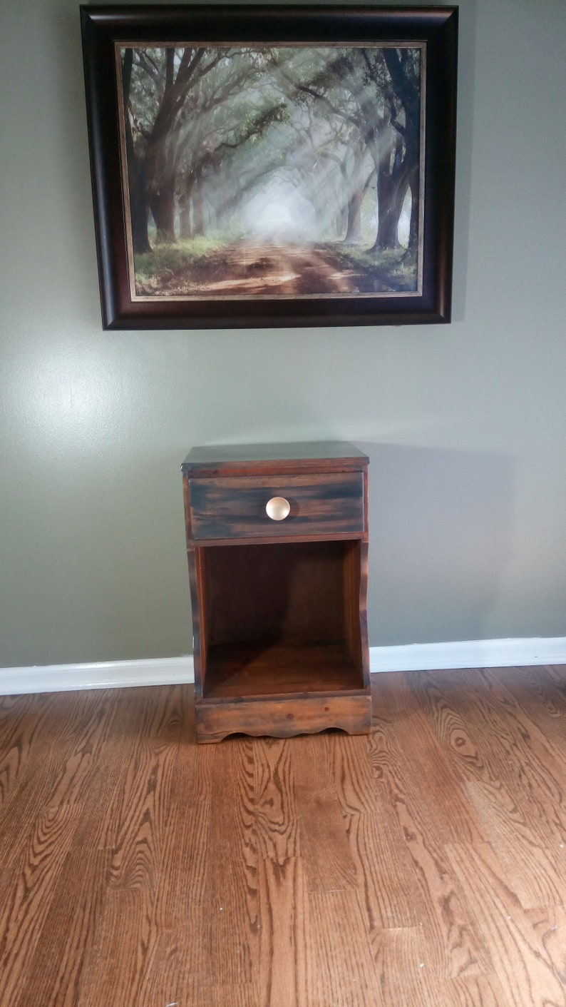 Rustic Pine nightstand gray and brown Farmhouse wormy pine sid end table mid century Finland