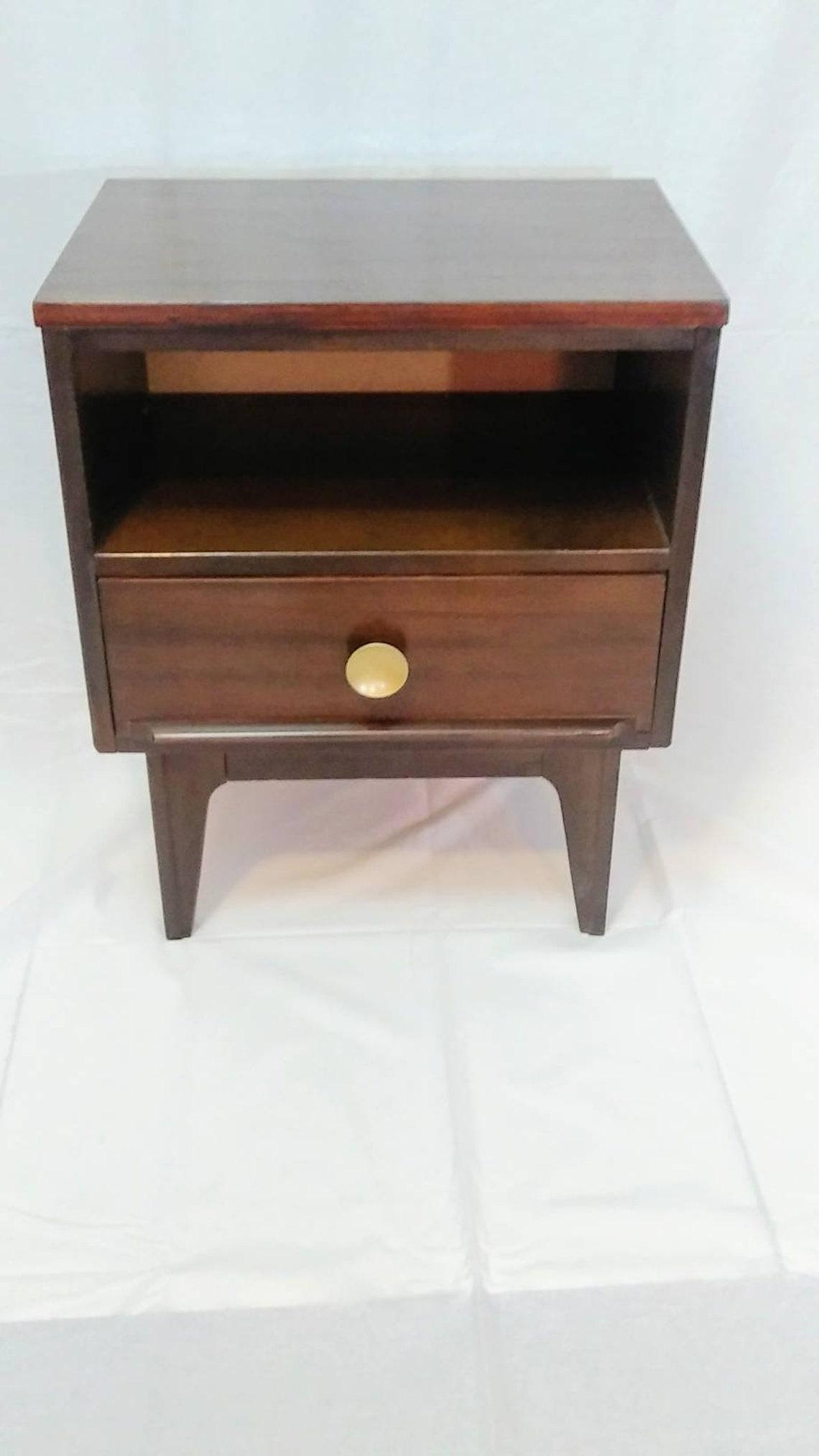 Mid Century Modern Single Drawer Walnut Nightstand