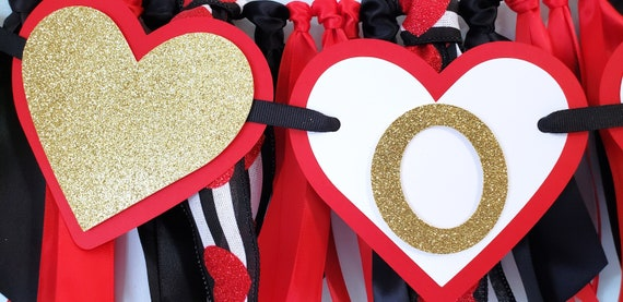 Queen of Hearts One or Two Birthday Banner Heart Highchair Banner Valentine Birthday Banner Red and Gold Handcrafted Birthday Banner