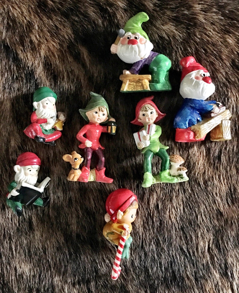 Lot of 6 Vintage Christmas figurines, Elfs, vintage Christmas, Elves,  Christmas Decor, MCM Christmas