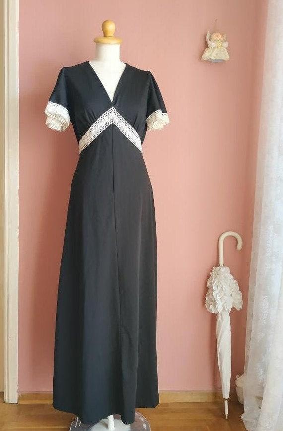 Black maxi 1970's dress
