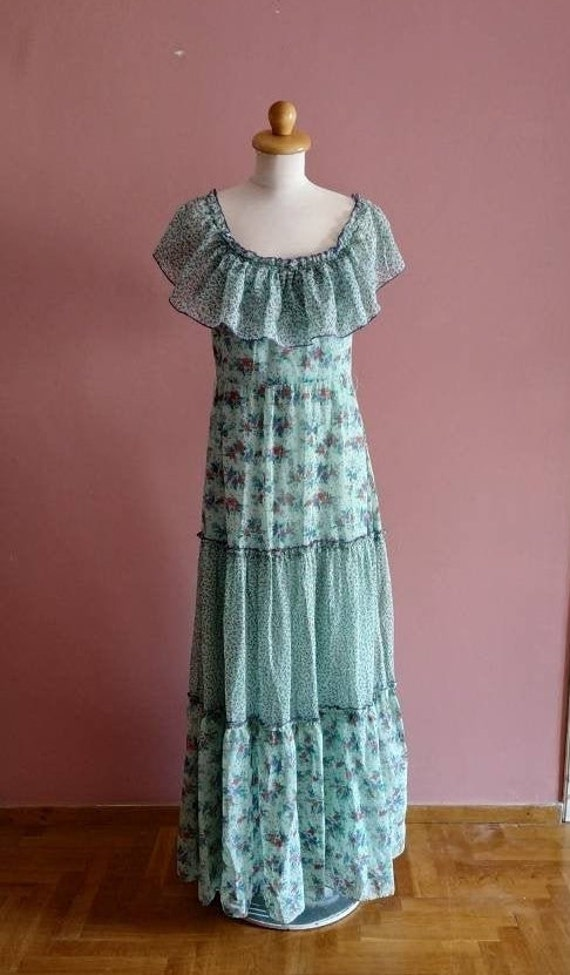 Tiered floral 1970's maxi dress