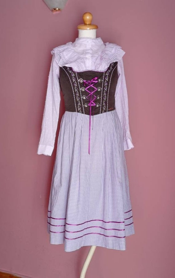 Brown and lilac check dirndl dress