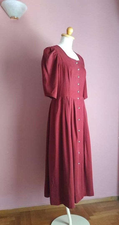 German folk burgundy dress