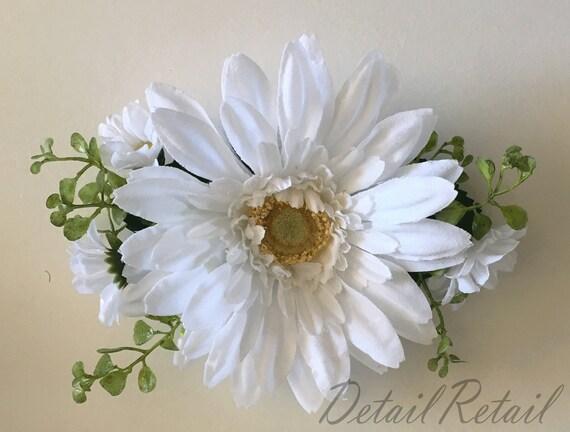 """6  White Daisy Artificial Silk Flower 3/""""  Head Hair Clip Craft"""