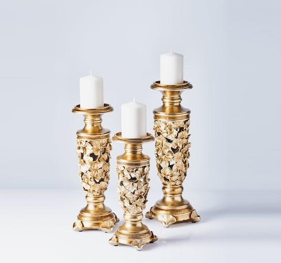 10, 12, 14 Magari Polyresin Candlesticks 3 Piece Set