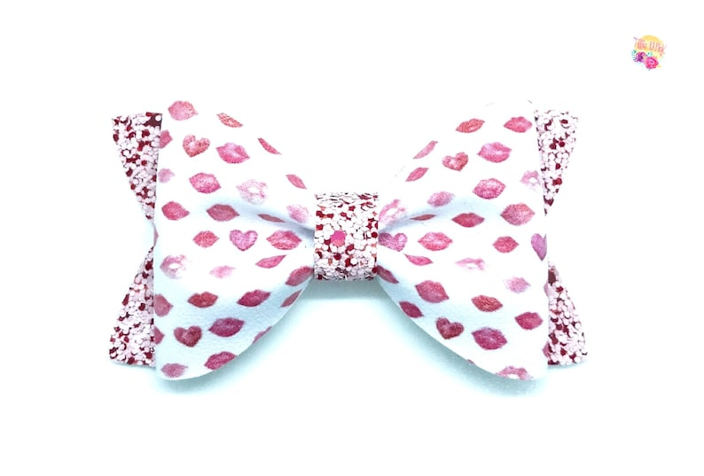 Baby hairbow and hairclip Newborn to adult headband and bow Red and pink kiss Valentine/'s Day bow