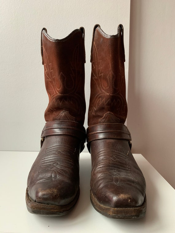 Vintage Herren Cowboy Stiefel Leder Motorrad Stiefel beunruhigt Stiefel Herbst Stiefel Braun Leder Stiefel Braun Cowboy Stiefel bestickte Stiefel