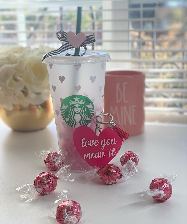 Gift for Best Friend Gift Set Valentine/'s Day Gift Custom Cup Galentine/'s Day Gift Hearts Cold Cup Gift for her Best babes