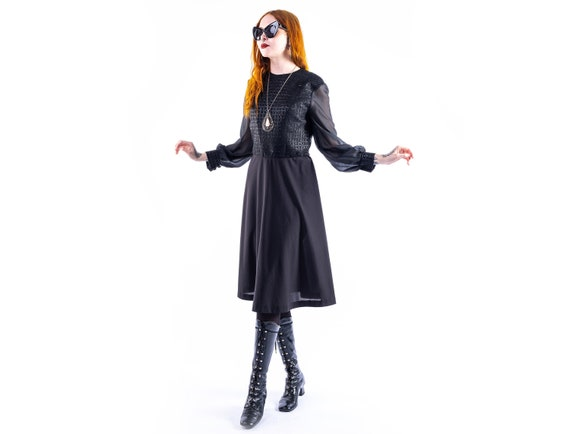 70's witchy black dress with sheer sleeves