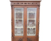 19th Century Italian Carved Walnut Vitrine or Cabinet