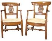 18th Century Italian Louis XVI Cherry wood Pair of Armchairs with Straw Seat