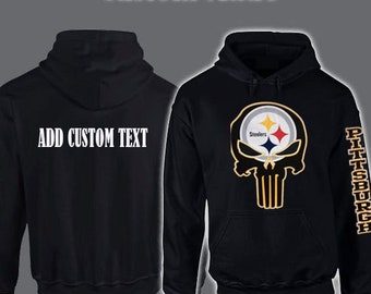 Pittsburgh Steelers YOUTH Punisher Skull Hoodie Add Custom Text On Back 4a1825653