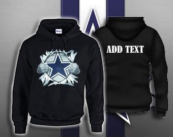 Dallas Cowboys YOUTH Superman Chest Tear Hoodie Add Custom Text On Back 5d699da5c