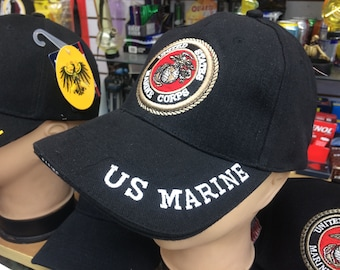 56afc82f6aa US Marine Corps Military Fitted Baseball Styel Hat Hand Embroidered By Retired  Marines