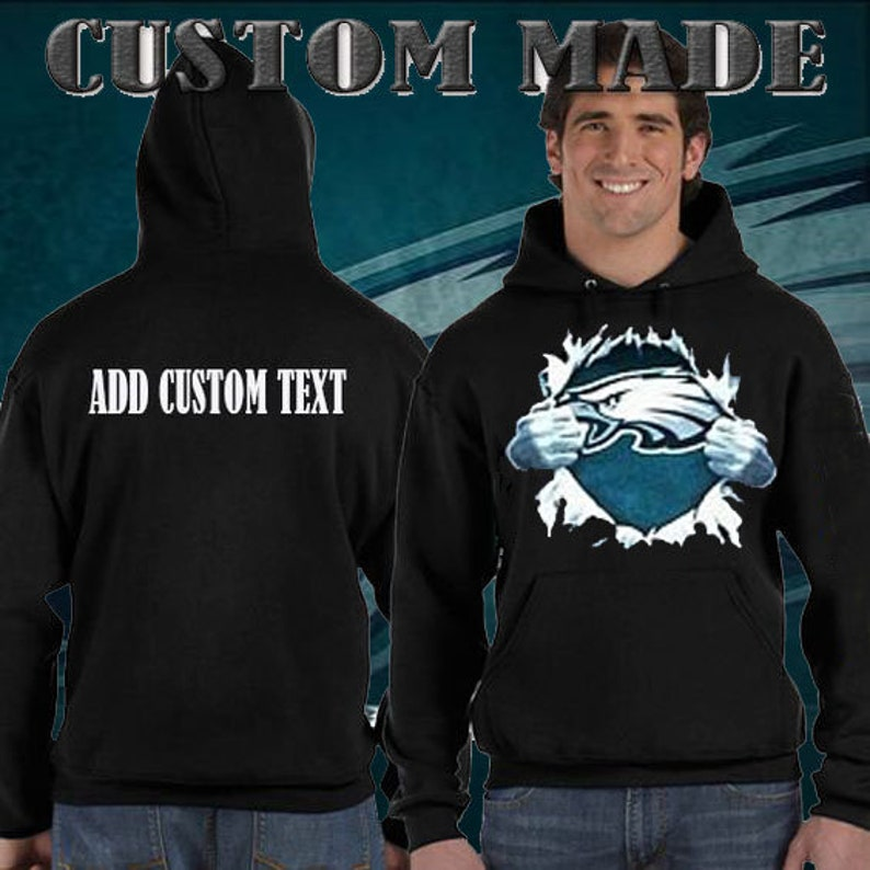 2388f623 Philadelphia Eagles Superman Tear Chest Design Hoodie ADD CUSTOM TEXT