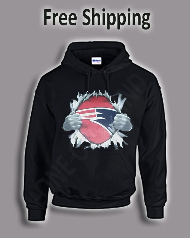 3fd7f0ce New England Patriots Superman Tear Chest Design Hoodie ADD CUSTOM TEXT