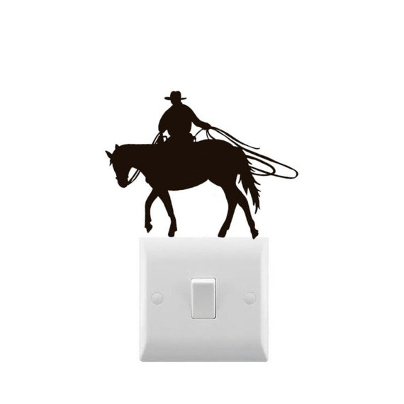 Novelty Cowboy Rodeo Light Switch Sticker Various Colours Available