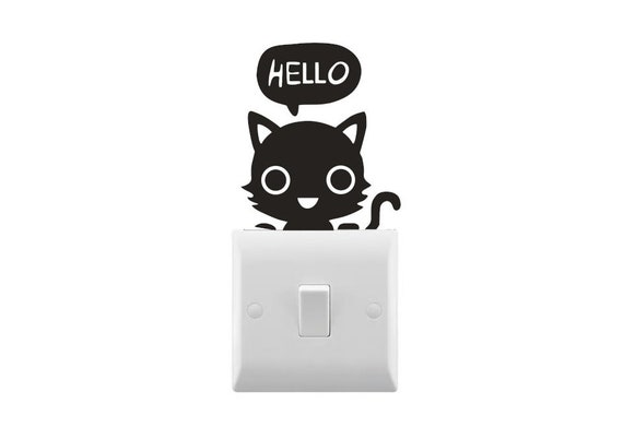 Novelty Cat with Heart Light Switch Sticker Various Colours Available