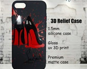 Christian Louboutin Luxury Designer Silicone Black Red Phone Case Cover for iPhone 6 7 8 X XS XR Max Plus Red Bottom High Heels 3D Relief