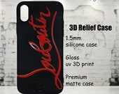 Christian Louboutin Designer Black Red Phone Case Cover for iPhone 6 7 8 X XS XR Max Plus Red Bottoms 3D Relief Case High Quality