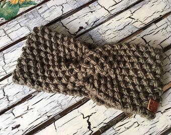 e09ed5bc63868e Stirnband mit Twist Damen Warm Winter Made with Love Handgestrickt Grün  Stirnbänder