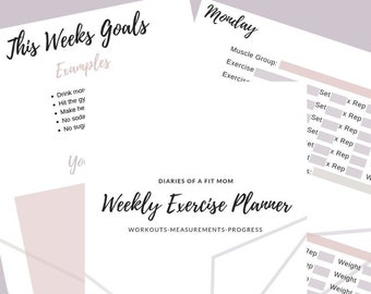exercise planner etsy
