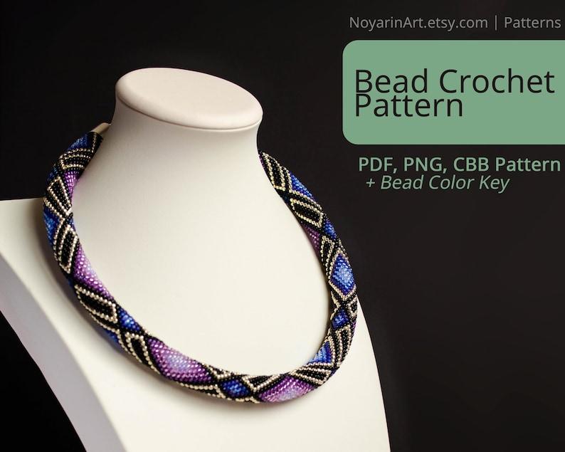 DIY Bead Crochet Pattern with bead color key, Geometric style necklace PDF  pattern, Rhombuses, Pattern for bead crocheting, Noyarin