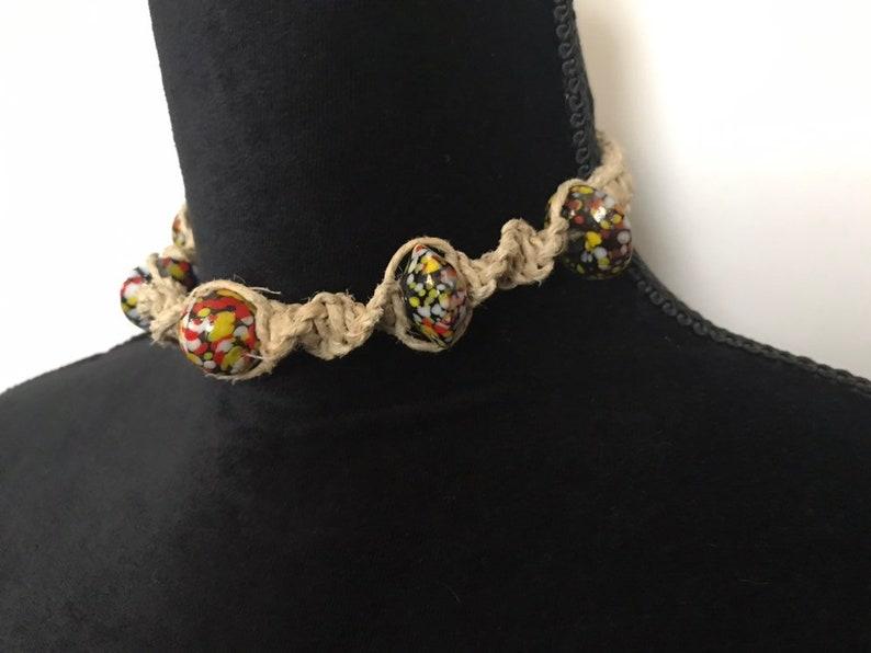 Lampwork Glass Beads speckled black yellow red Handmade Hemp Necklace hippie surfer boho Artisan Macrame men women choker 1 of a kind