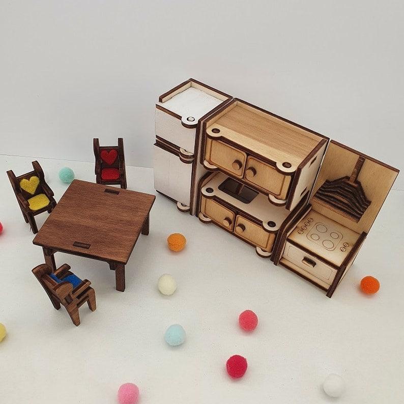Dollhouse furniture kitchen Miniature furniture Pretend play