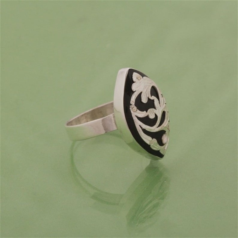 Jet Gemstone Vintage Ring Women/'s Silver Ring With Embroidered Jet Stone Handmade Silver Ring Black Jet Stone Black Gemstone NUR-3678