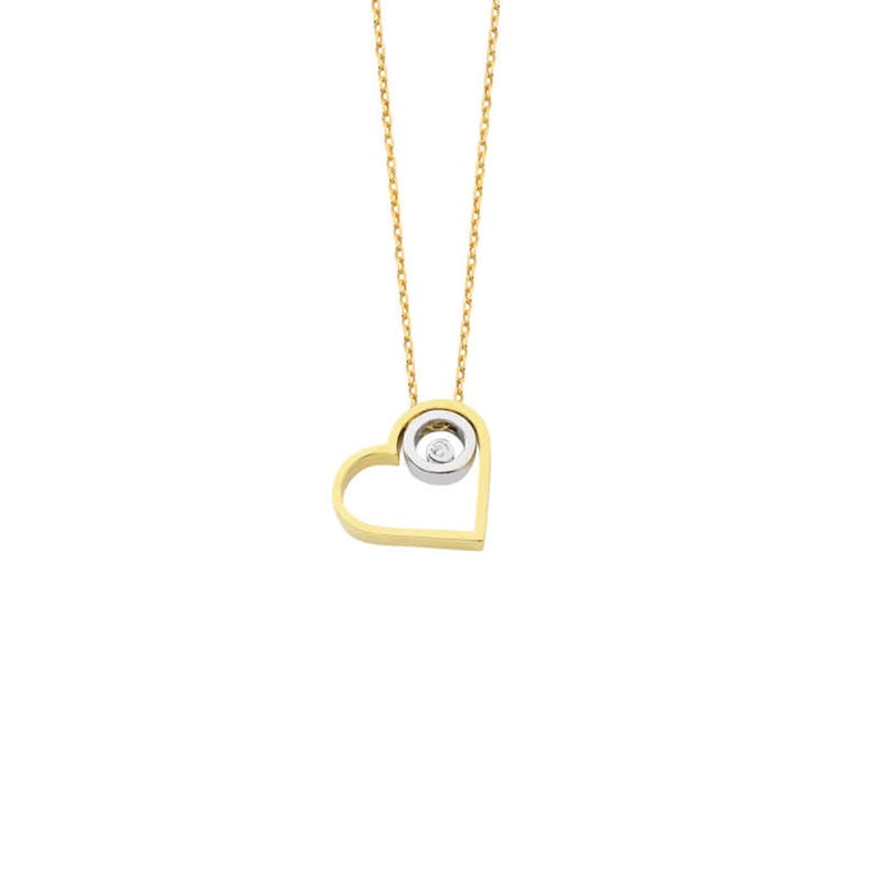 Dainty Womens Open Heart Necklace Engagement Necklace,Raw Diamond Necklace,Thin Chain Necklace,Good Luck Gifts