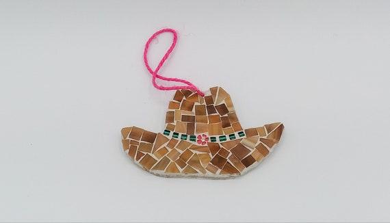 Handmade Ornament Stocking Stuffer Mosaic Art Cowboy Hat Ornament Mosaic Decoration Hostess Gift Holiday Ornament Secret Santa Gift
