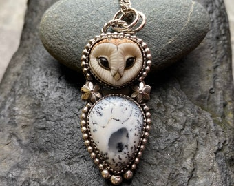 Angelic Realm,Monochrome Owl,Owl Pendants,Barn Owl,Dendrite Opal,Spiritual Necklaces,Free Spirit,Gothic Owl,Chakra Spiritual Trove