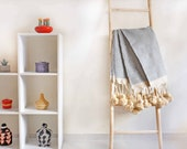 Moroccan Cotton Blanket With Wool Long Tassels, handwoven on traditional wooden looms. BLKT010