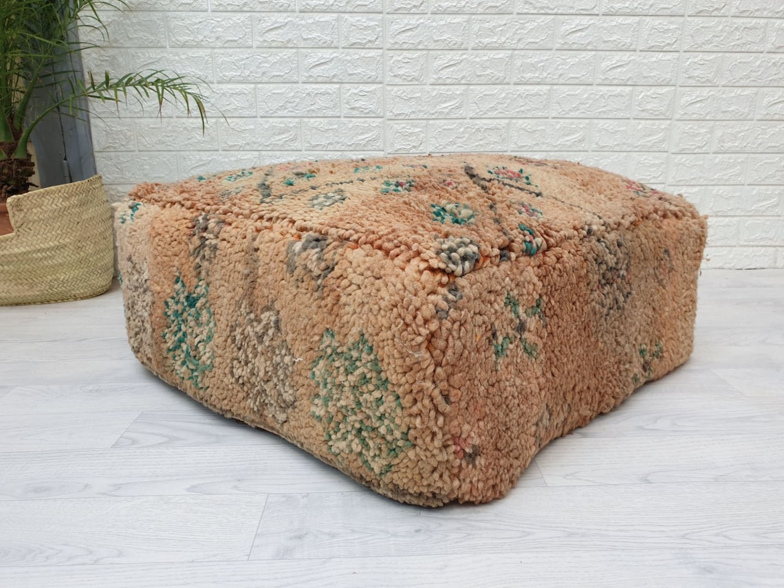 """23""""x23""""x10"""" Moroccan Vintage Floor  Cushion, Moroccan Pouf, Morocco Vintage Cushion, Unique Vintage Floor Pillow Made from Vintage Rug VP118"""