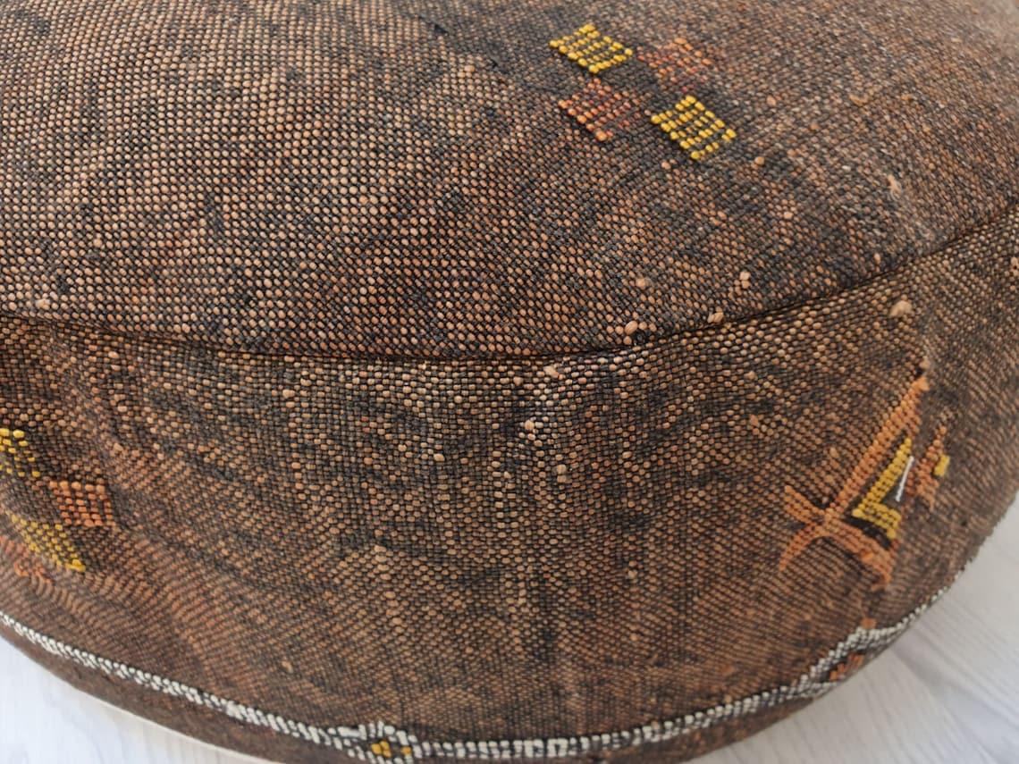"23""x23""x8"" Moroccan Sabra Floor Cushion, Morocco Sabra Cactus Silk Pouf, Moroccan Unique Sabra Floor Pillow Made from Sabra Rug - SFP032"