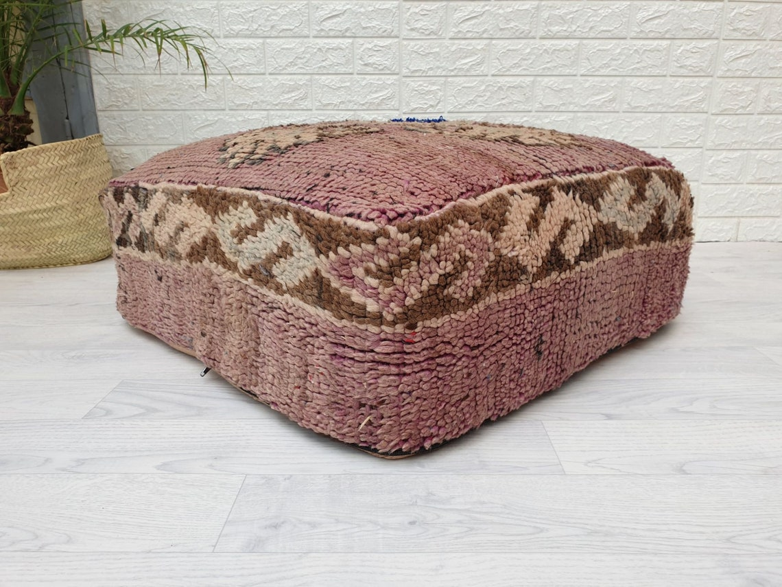 "23""x23""x10"" Moroccan Vintage Floor  Cushion, Moroccan Pouf, Morocco Vintage Cushion, Unique Vintage Floor Pillow Made from Vintage Rug VP117"