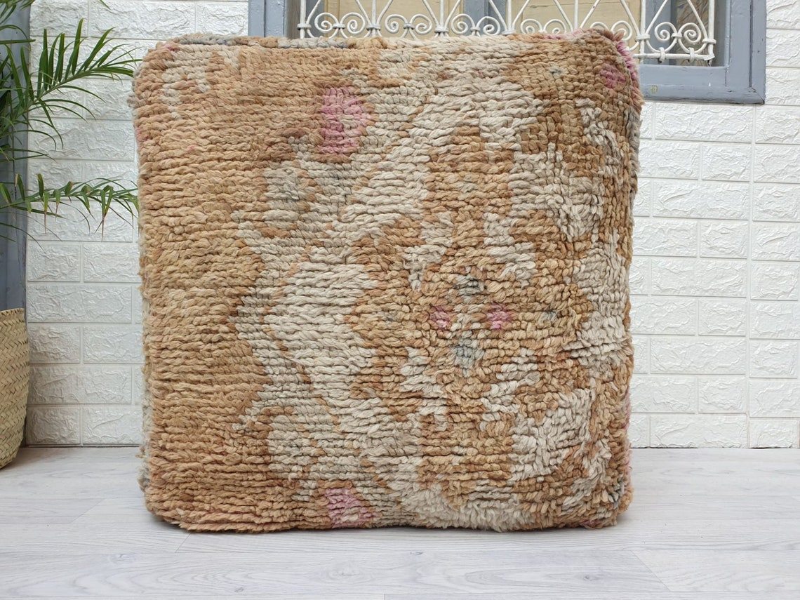 """23""""x23""""x10"""" Moroccan Vintage Floor  Cushion, Moroccan Pouf, Morocco Vintage Cushion, Unique Vintage Floor Pillow Made from Vintage Rug VP115"""