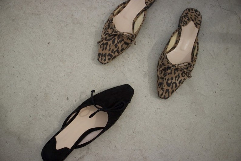 women suede leather bow ballet mule point toe knot leopard black res Handmade
