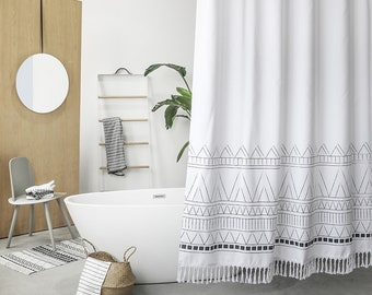 Black White Bohemian Shower Curtain With Tassel Boho Gypsy Style Bath