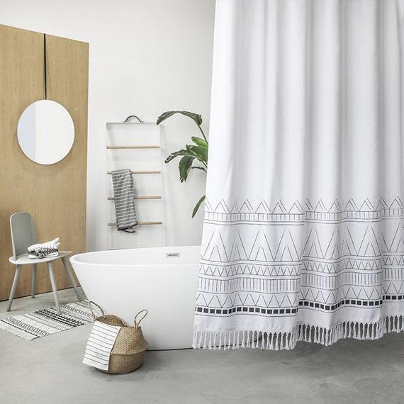 Black White Bohemian Shower Curtain With Tassel Boho