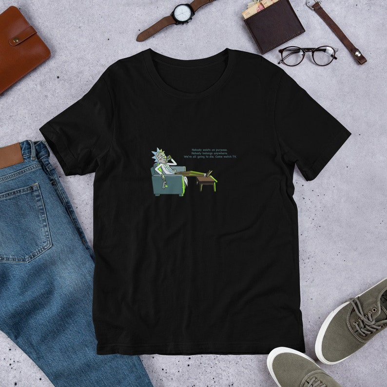 59502d3af2d Rick watches TV Rick and Morty Short-Sleeve Unisex T-Shirt