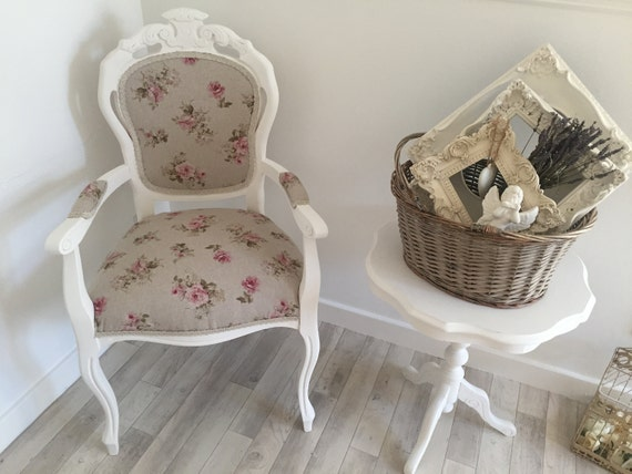French Louis Armchair Farmhouse Vintage Shabby Chic Country Antique Style Floral
