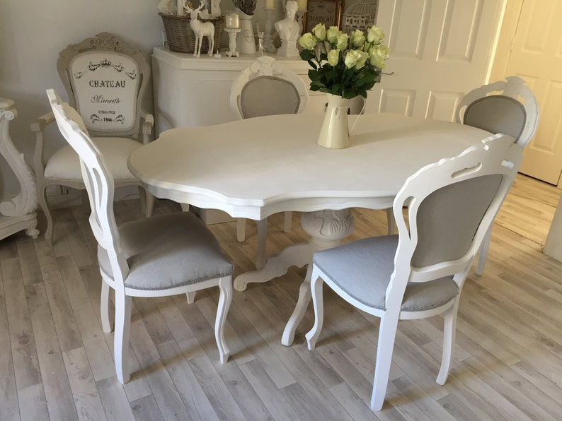Awe Inspiring French Louis Style Dining Table And 4 Louis Dining Chairs Shabby Chic Rococo Antique Style Dining Set Spiritservingveterans Wood Chair Design Ideas Spiritservingveteransorg