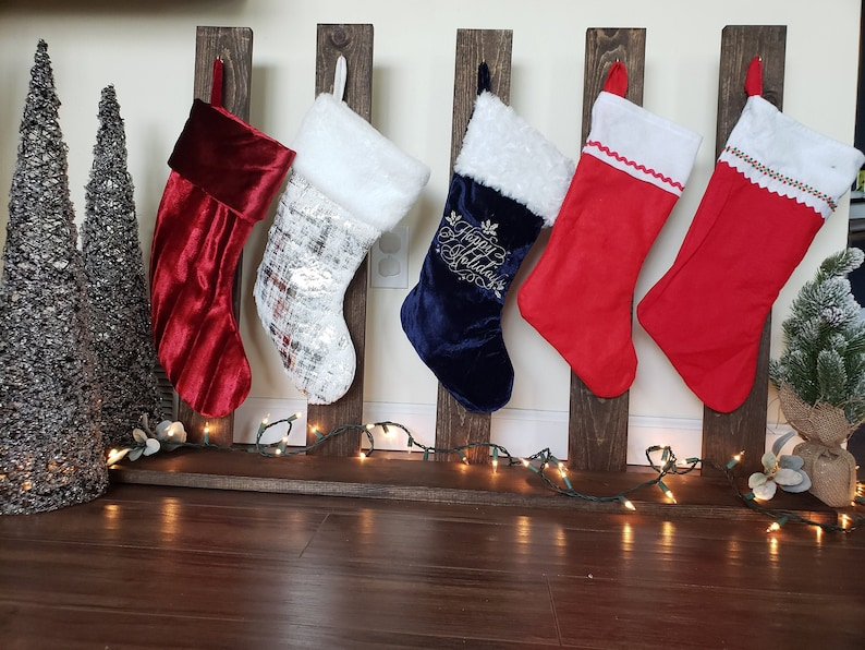 Rustic Stand-Alone Christmas Stocking Stand-Personalized