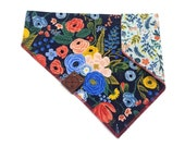 Floral Dog Bandana Collar thru Reversible Navy and Blue Bandana Pet Bandana Rifle Paper Co