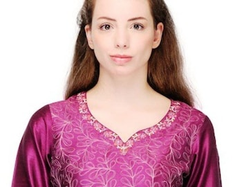ea194749fc4f29 Purple Tunic, Womens Tops and Blouses , Indian Embroidered Tunic ,  Embroidered Top Women ,Indian Short Kurtis , FREE SHIPPING